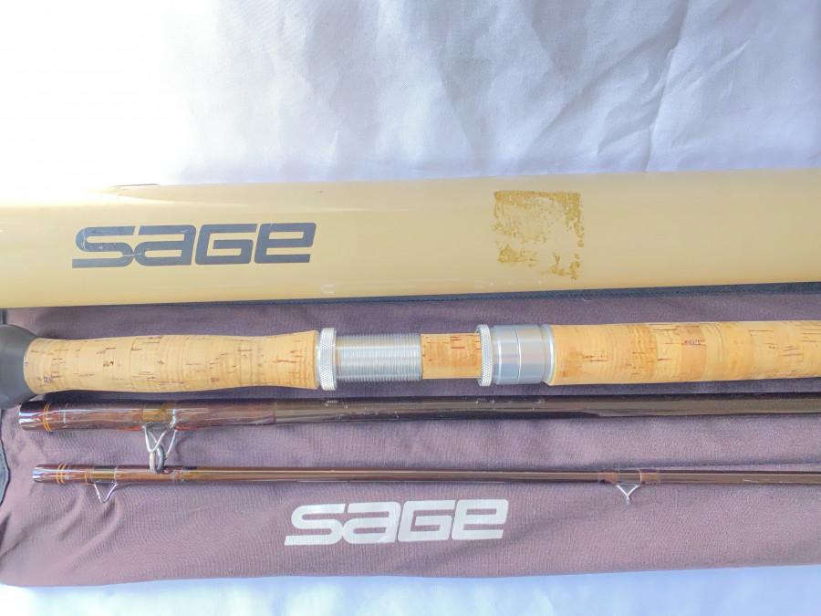Zweihand Lachsfliegenrute Sage GFL III, 10150-3, 3tlg., 15 Fuß, #10, Futteral, Alu Transportrohr, sehr guter Zustand