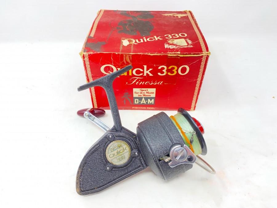 Stationärrolle, DAM Quick 330, Gebrauchsspuren, im Originalkarton