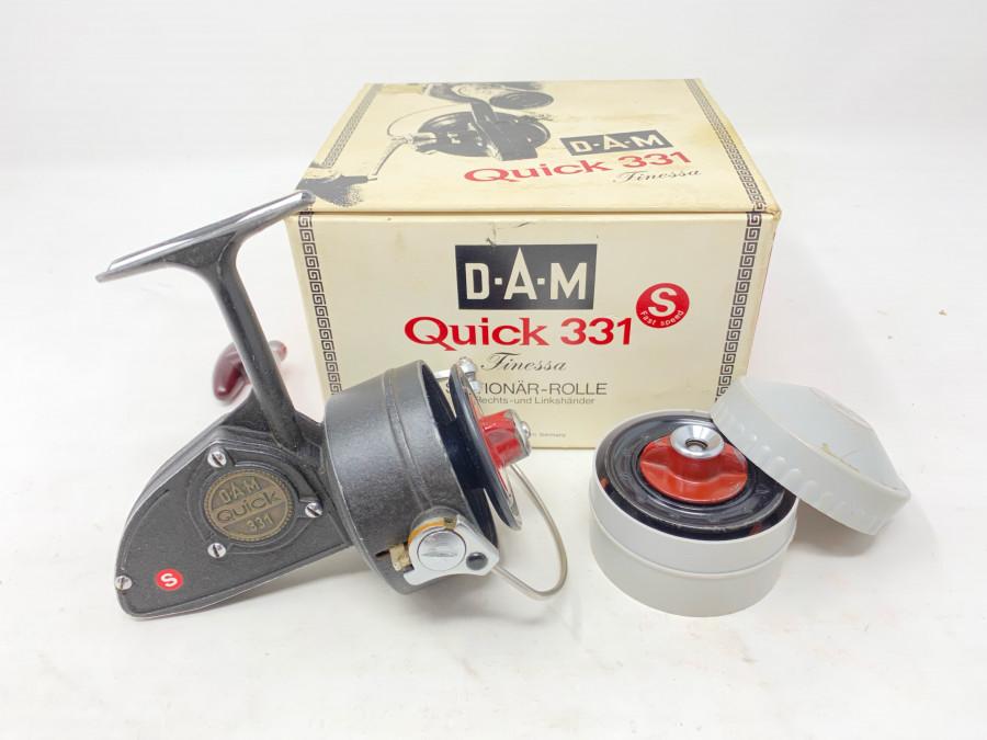 Stationärrolle, DAM Quick 331 S, Finessa, Reservespule, Gebrauchsspuren, im Originalkarton