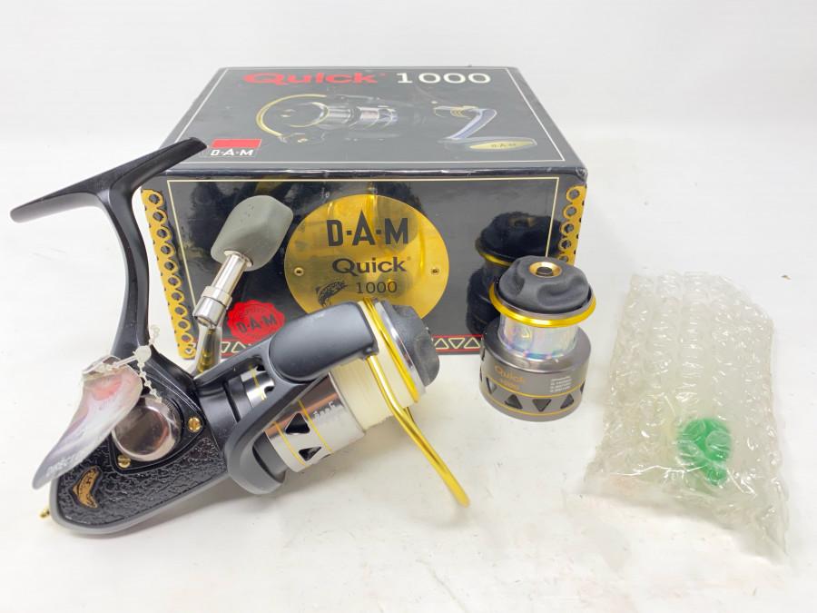 Stationärrolle, DAM Quick 1000, Reservespule, Ölflasche, Bedienungsanleitung, neu im Karton