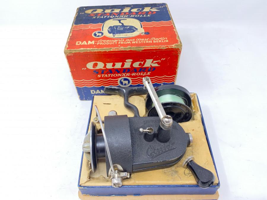 Stationärrolle, DAM Quick Standard No. 250, Reservespule, im Originalkarton. Gebrauchsspuren
