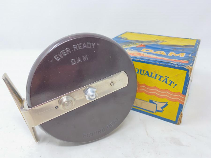 Fishing Reel, DAM Ever Ready, Bakelit/Alu eloxiert, Made in Germany, 100mm Spulendurchmesser, 45mm Rollenbreite, sehr guter Zustand, in altem Karton