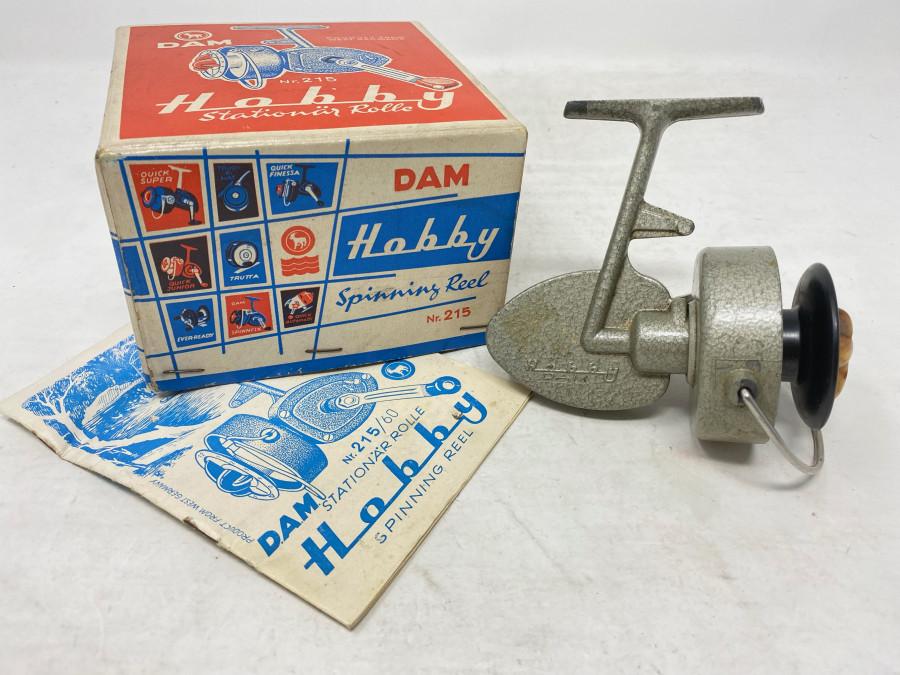 Stationärrolle, DAM Hobby Nr. 215, Bedienungsanleitung, Gebrauchsspuren, im Originalkarton