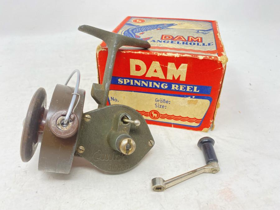 Stationärrolle, DAM Quick Junior, Gebrauchsspuren, im Originalkarton mit Ziegenbock Logo