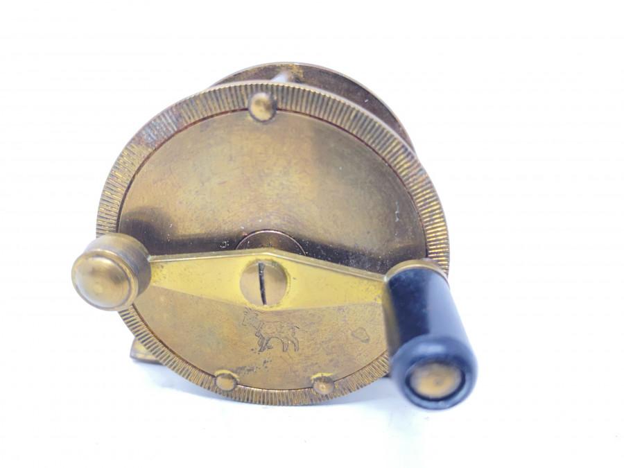 Kleine Messingrolle, DAM Effzett 495, Ziegenbock Logo auf Vorderseite, Gebrauchsspuren