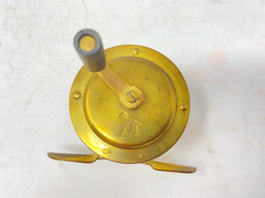 Kleine Messingrolle, Ziegenbock Logo auf Vorderseite, Rollendurchmesser 50mm, Rollenbreite, 25mm, Gebrauchsspuren