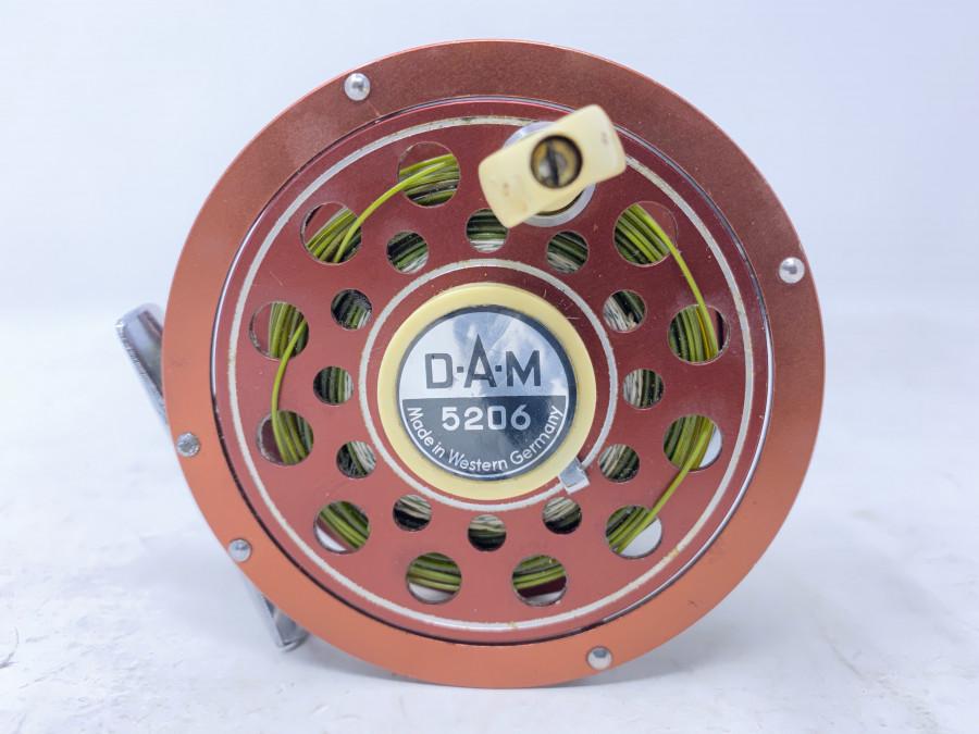 Fliegenrolle, DAM 5206, Made in Western Germany, mit Schnur, Linkshand, Gebrauchsspuren