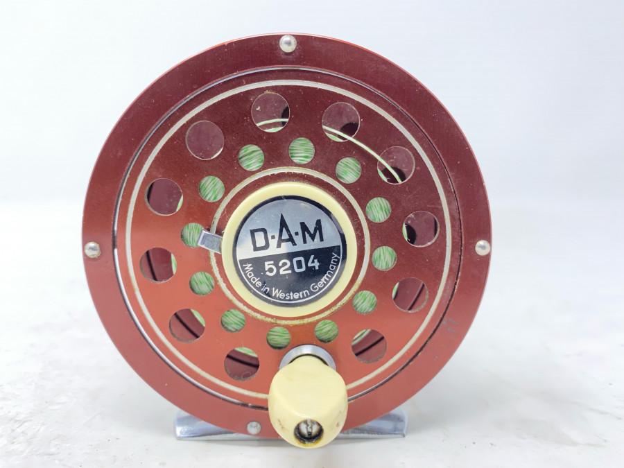Fliegenrolle, DAM 5204, Made in Western Germany, mit Backing, Linkshand, Gebrauchsspuren