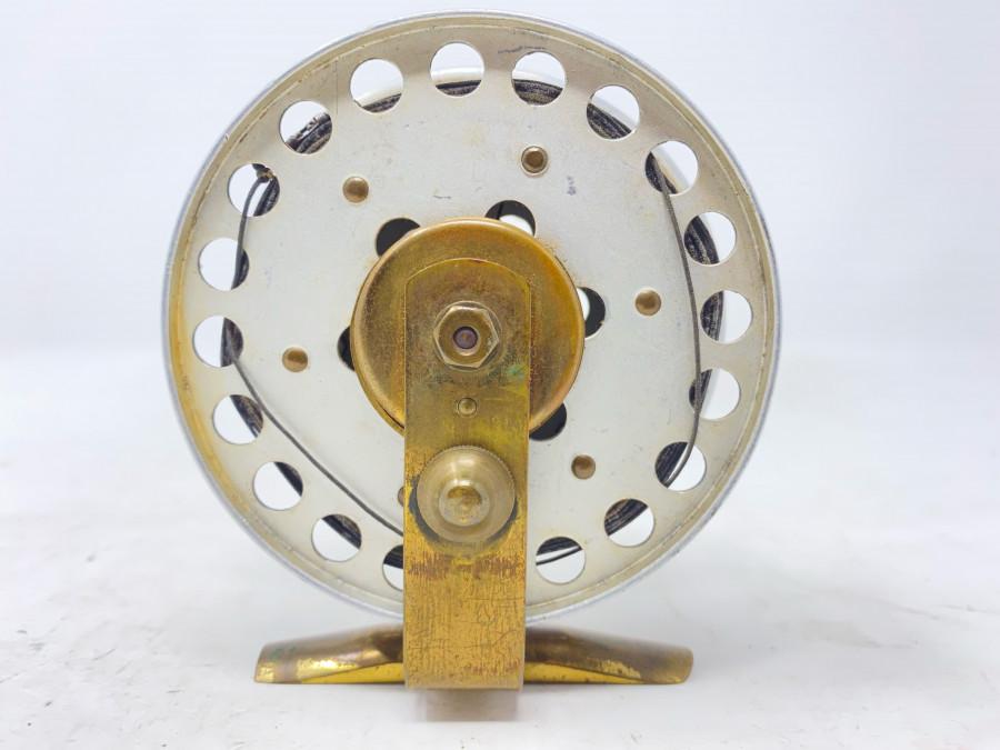 Grundrolle (DAM keine Markung), Alu, Messing, mit Seidenschnur, Rollendurchmesser 92mm, Rollenbreite 35mm, Gebrauchsspuren