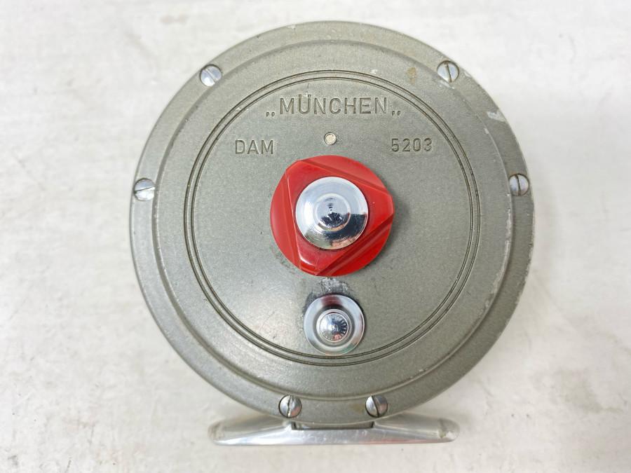 Fliegenrolle, DAM München 5203, ausschaltbare Knarre, Alu, Rollendurchmesser 92mm, Rollenbreite 32mm, Gebrauchsspuren