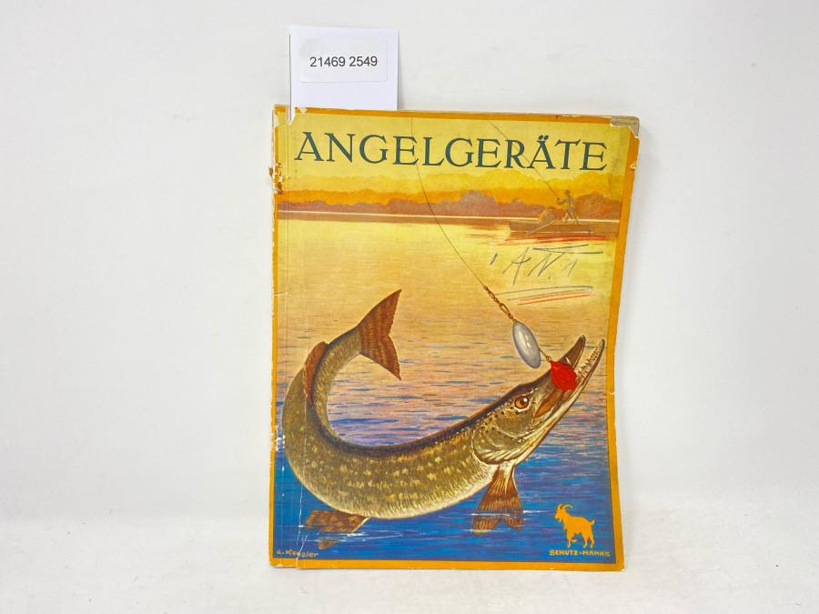 DAM Katalog: Angelgeräte, 160 Seiten, 2 Farbseiten mit Fliegen, 50 Jubiläumskatalog, 1925, Gebrauchsspuren