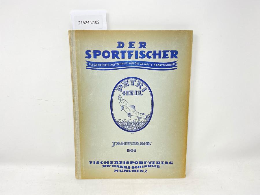 Zeitschriften: Der Sportfischer, Illustrierte Zeitschrift für die gesamte Sportfischerei, Jahrgang 1926, 3. Jahrgang, 12 Hefte, 240 Seiten, gebunden in bedruckten Original-Halbleinenband des Verlags, 1 Blatt lose (S.39/40) dort inneres Gelenk gelockert