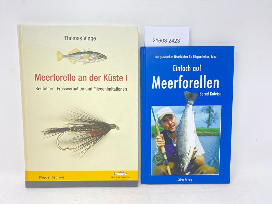 2 Bücher: Meerforelle an der Küste I Beutetiere, Fressverhalten und Fliegenimitationen, Thomas Vinge, 2012; Einfach auf Meerforellen, Bernd Kuleisa, 2007