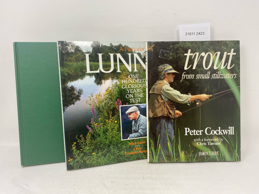 3 Bücher: Chalk Stream Salmon and Trout Fishing, Charles Bingham, 1993; A Particular Lunn one Hundred glorious Years on the Test, Mick Lunn with Clive Graham Ranger, 1991; trout from small stillwaters, Peter Cockwill with a foreword by Chris Tarrant, 1994