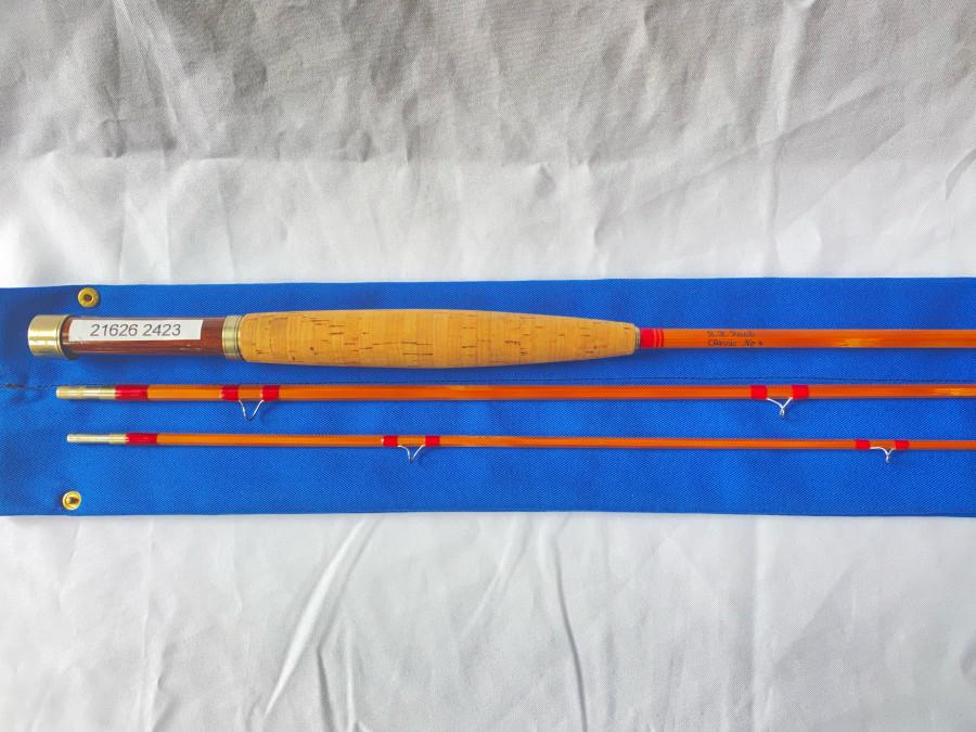 Gespliesste Fliegenrute,R.H. Raab, Classic No. 4, 3tlg., 233cm, '4/5, schöne parapolische Aktion, neu, Futteral