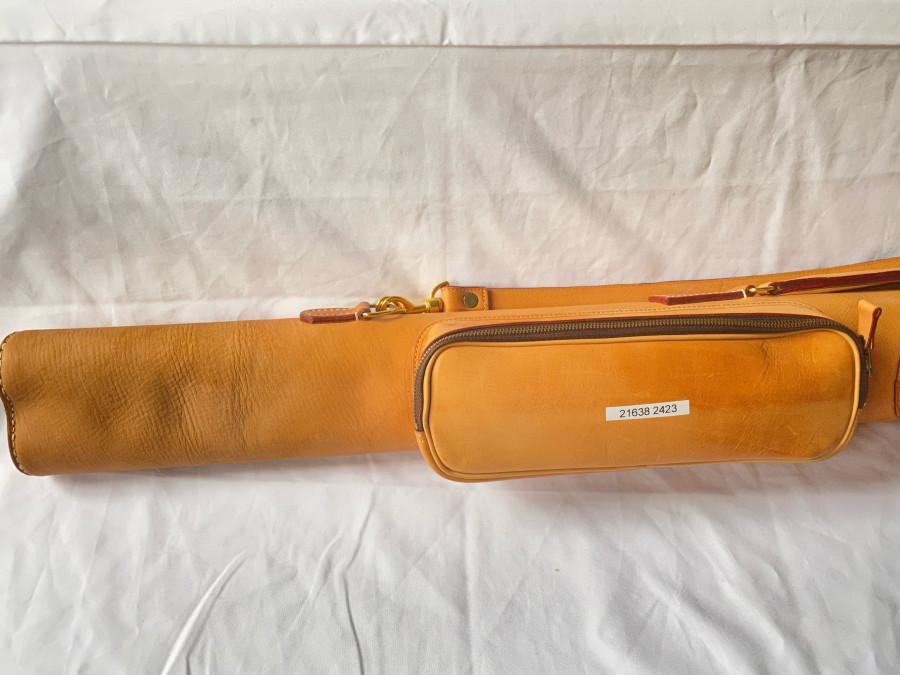 Transportbehälter, Leder, für 2 Ruten, 1.200mm, 2 Aussentaschen für Rollen und Zubehör