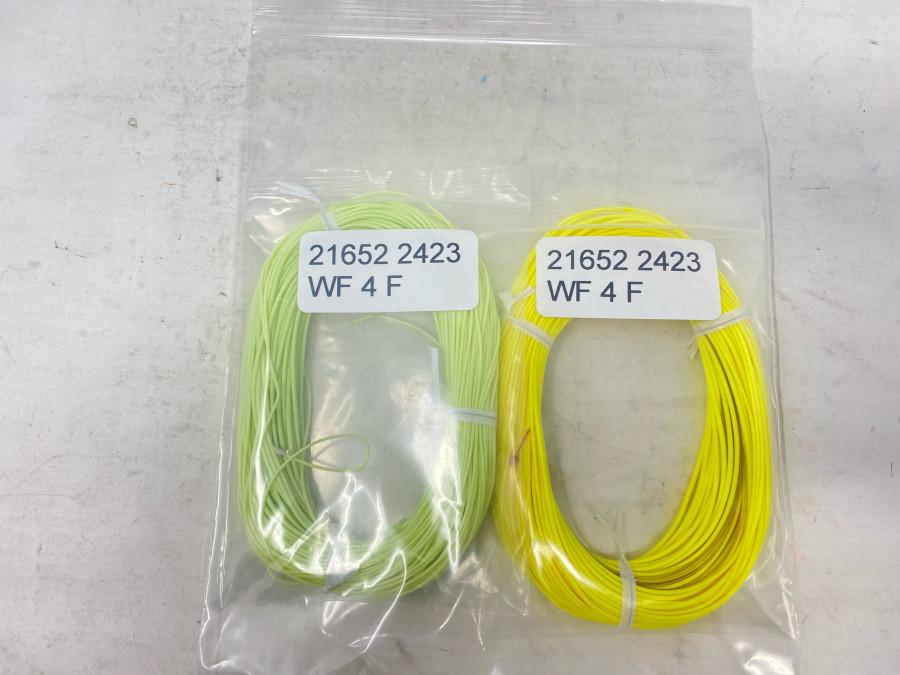 2 Fliegenschnüre, WF 4 gelb und WF 4 hellgrün, gebraucht, guter Zustand