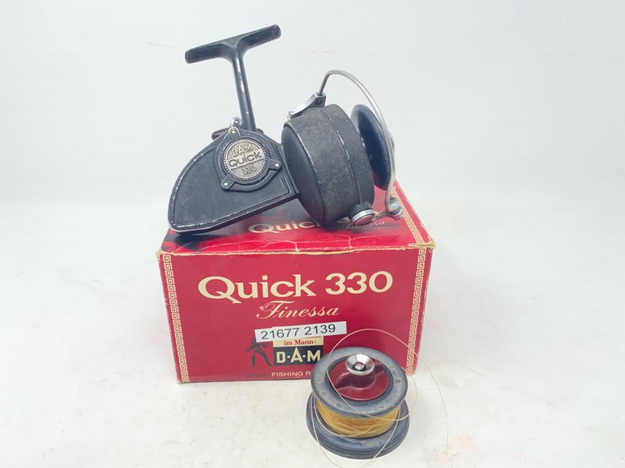 Stationärrolle, DAM Quick 330, Reservespule, starke Gebrauchsspuren, im Karton