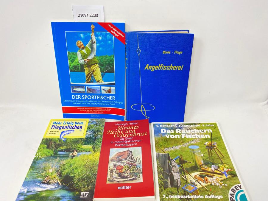 5 Bücher: Die Angelfischerei, v.d.Borne - Fliege, Elfte Auflage, 1961; Mehr Erfolg beim Fliegenfischen, Hans-Peter Kirchner, 1998; Der Sportfischer, Günther Burk, 2006; Das Räuchern von Fischen, E. Rehbronn, F. Rutkowski, F. Jahn, 1997; Silvaner, Hecht und Ochsenbrust, Heinrich Höllerl, 1993