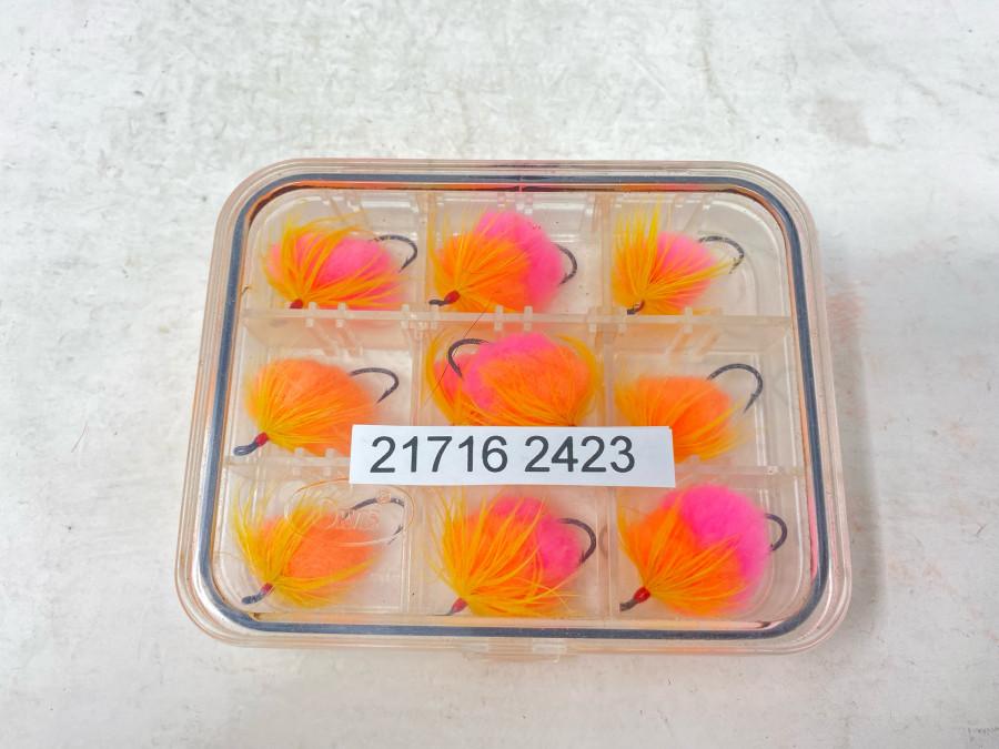 Kunststoffbox mit 10 Steelhead Fliegen, gebunden von Dr. Ingo Karwath, sehr gute Qualität