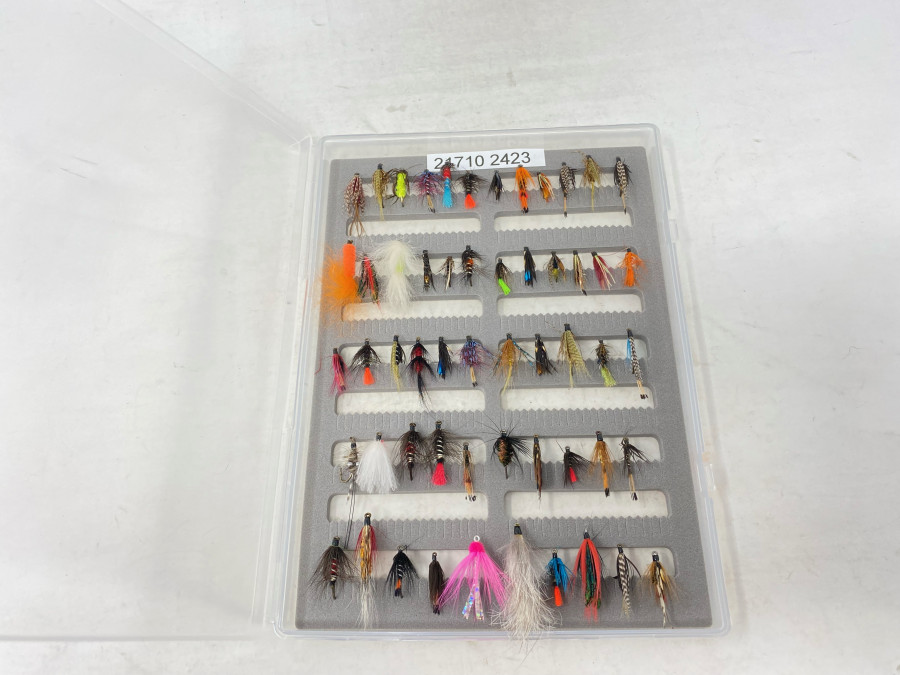 Kunststoff Fliegenbox, Schaumstoffeinlage, gefüllt mit 60 Nassfliegen, kleinen Streamern, gebunden von Dr. Ingo Karwath, sehr gute Qualität