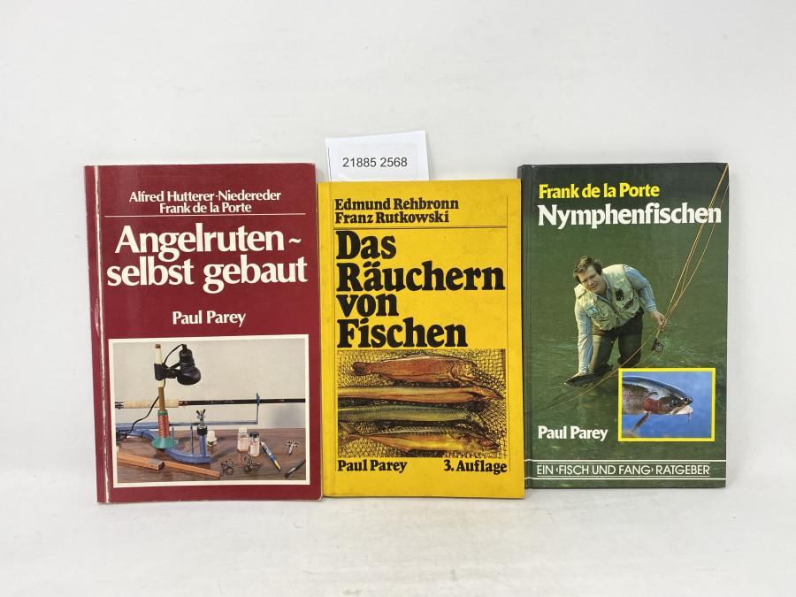 3 Bücher: Nymphenfischen, Frank de la Porte; Angelruten selbst gebaut, Alfred Hutterer-Niedereder/Fank de la Porte, 1980; Das Räuchern von Fischen, Edmund Rehbronn/Franz Rutkowski, 1980