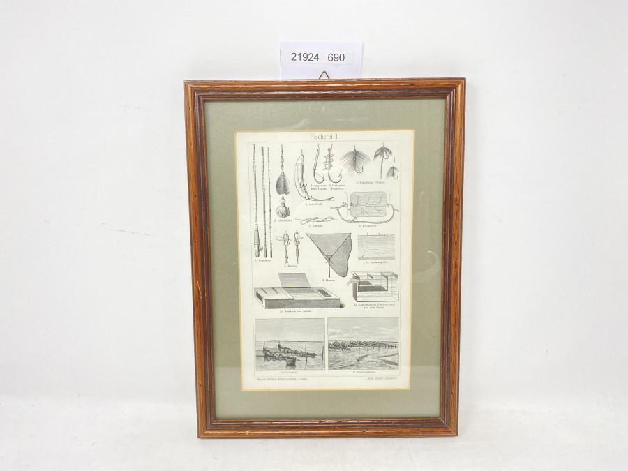 Bild im Holzrahmen, Fischerei I, 300 x 230mm
