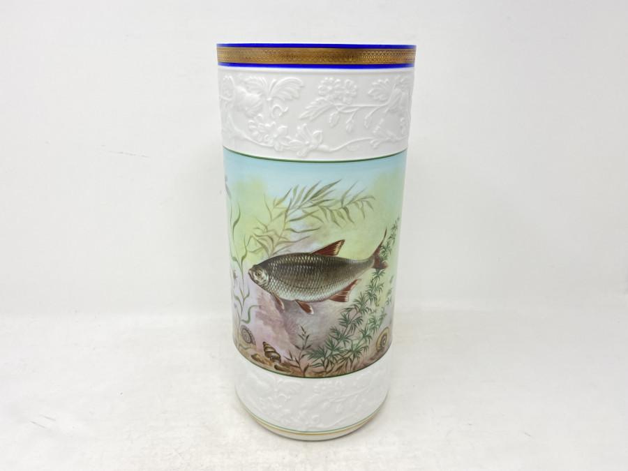 Porzellan Vase, Krautheim, Selb Bavaria, Germany, Marille, Dekor A 2353, A. Geyer,  Handarbeit, 125mm Durchmesser, 265mm hoch
