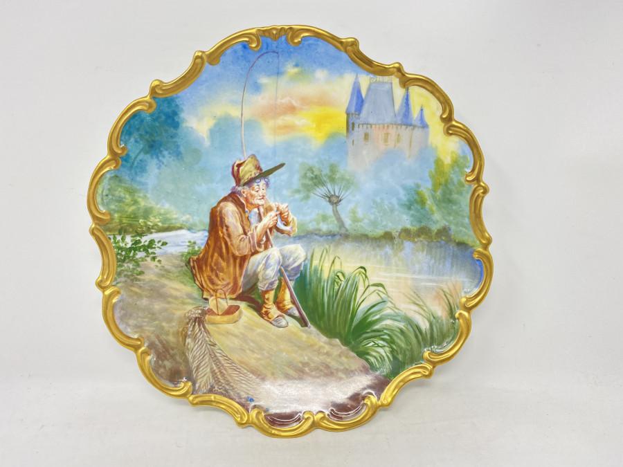 Wandteller aus Porzellan, 320mm Durchmesser, Goldrand, Anglermotiv
