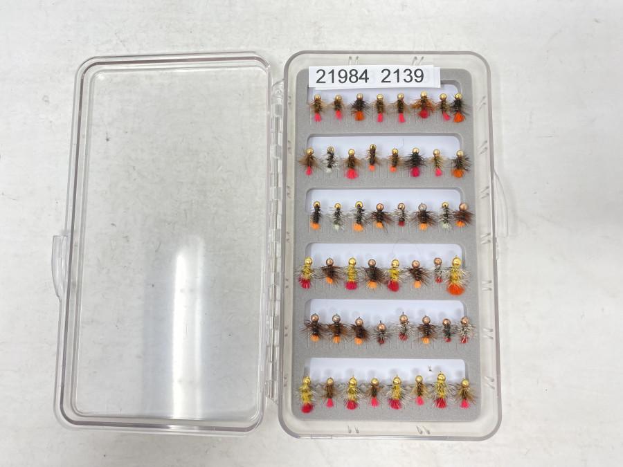 Kunststoff Fliegenbox, Schaumeinlage, mit 48 Mini Jig´s, Grösse 14 - 16, sehr fängig