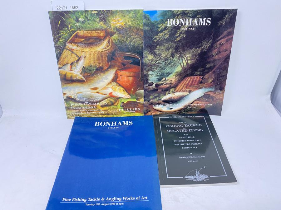 4 Auktionskataloge: Angling Auctions 03/2008, Bonhams 03/1998, 08/1999 und 06/2001