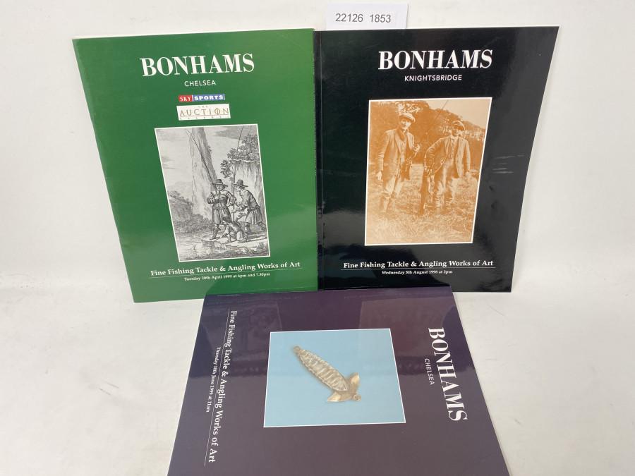 3 Auktionskataloge: Bonhams 08/1998, 04/1999 und 06/1999
