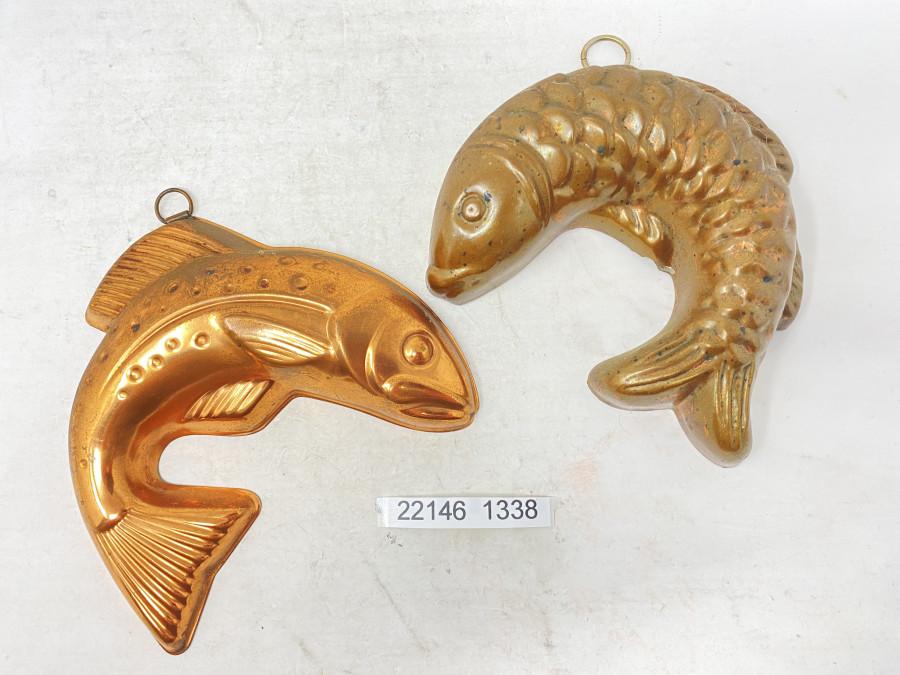 2 Fischformen, Zinn, verkupfert