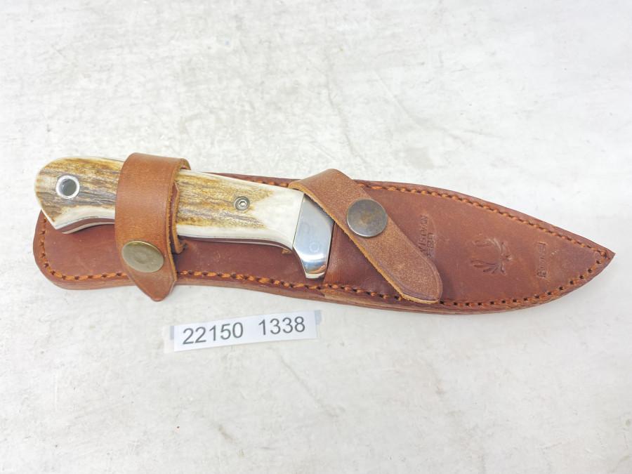 Jagdmesser Dixon 420, rostfrei, Krupp WNR 4034 - 55 HRC, Gesamtlänge 205mm, Lederscheide, neu