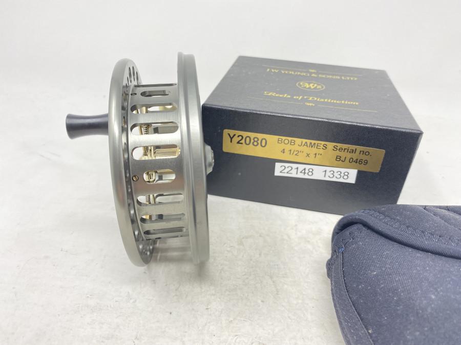 """Centerpinrolle, J.W. Joung & Sons Ltd, Redditch England, BJ Centrepin 2080, Serial no. BJ 0469, 4 1/2"""" x !2, Neoprene Rollentaschen, neu im Karton"""