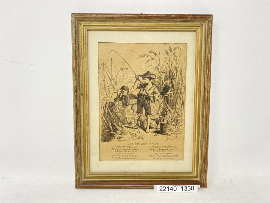 Anglerbild, Der schlaue Peter, 180 x 225mm, in schönem Rahmen