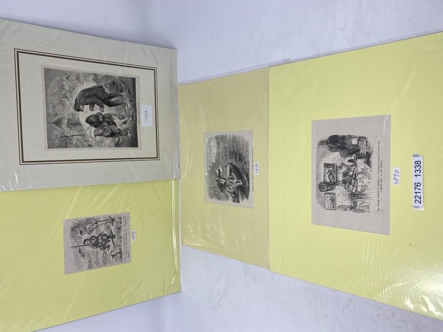 4 Anglerbilder 300 x 240mm: 4893, aus der Zeit 1860, 4370, aus der Zeit 1871. 17008, aus der Zeit 1880 und 4890, aus der Zeit 1860