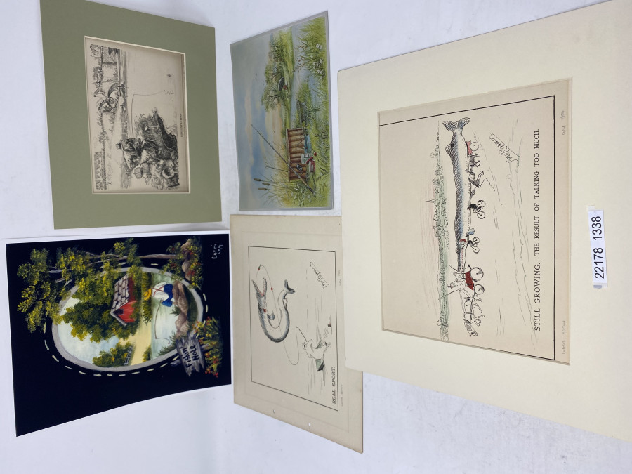 5 Anglerbilder: Dufix Prints 205 x 155mm, Fishing Hole 210 x 260mm, Holzstich Concentration 250x200mm, Real Sport, Fred Reynold, 260x220mm, Still Growing. The Result of Tsalking too much, Fred Reynolds, 320x270mm