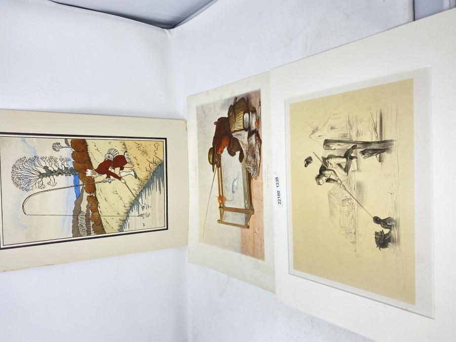 3 Anglerbilder: Holzstich Teufel an der Angel, 400x300mm; LÍllustration Ca Mord, 380x280mm; Harry Elliot, 295x410mm