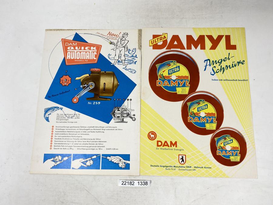 2 DAM Werbeblätter, Ultra Damyl und DAM Quick Autotmatic Modell 59, jeweils 4 Seiten