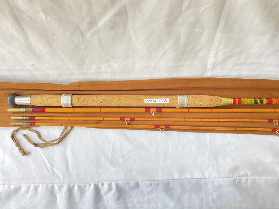 """Schwimmer- und Karpfenrute, Allcocks """"Super Wizard"""", Hohlglas/Gespliesst, 4tlg., 1 Spitze kürzer, 340cm bzw. 310cm, langer Korkgriff, Futteral, neu"""