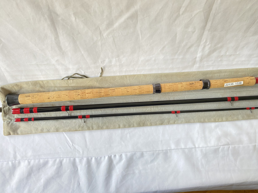Kohlefaser Matchrute, Peter Morton All England, Spliced, No. 11374C30, 3tlg., 15 ft., Futteral,  guter Zustand,