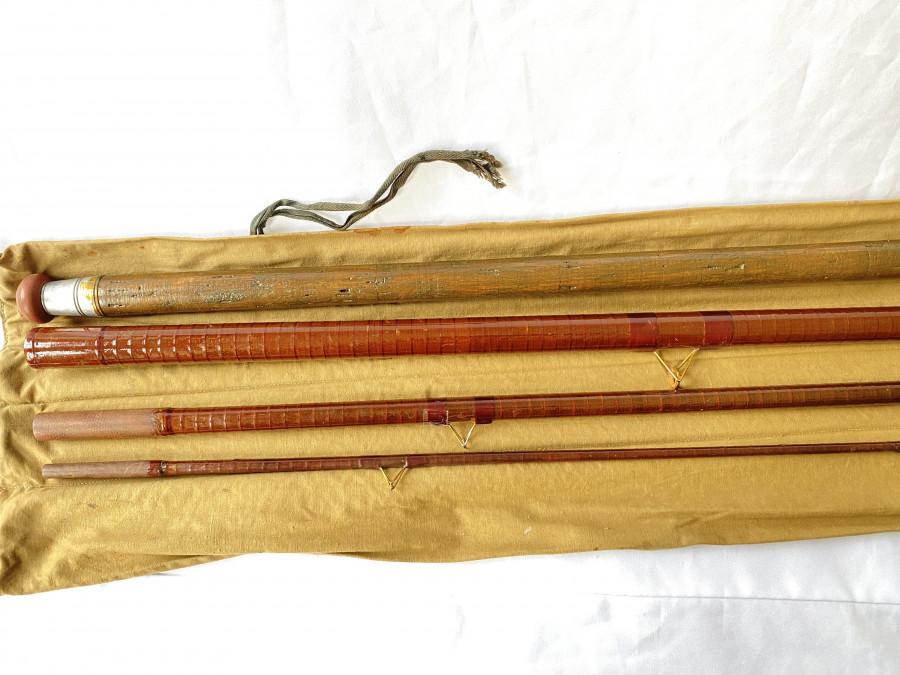 Matchrute B.James & Son, 4tlg., 14 ft.,  brauner Hohlglasblank, dunkler Korkgriff, 1 Ring lose, Futteral, sonst guter Zustand