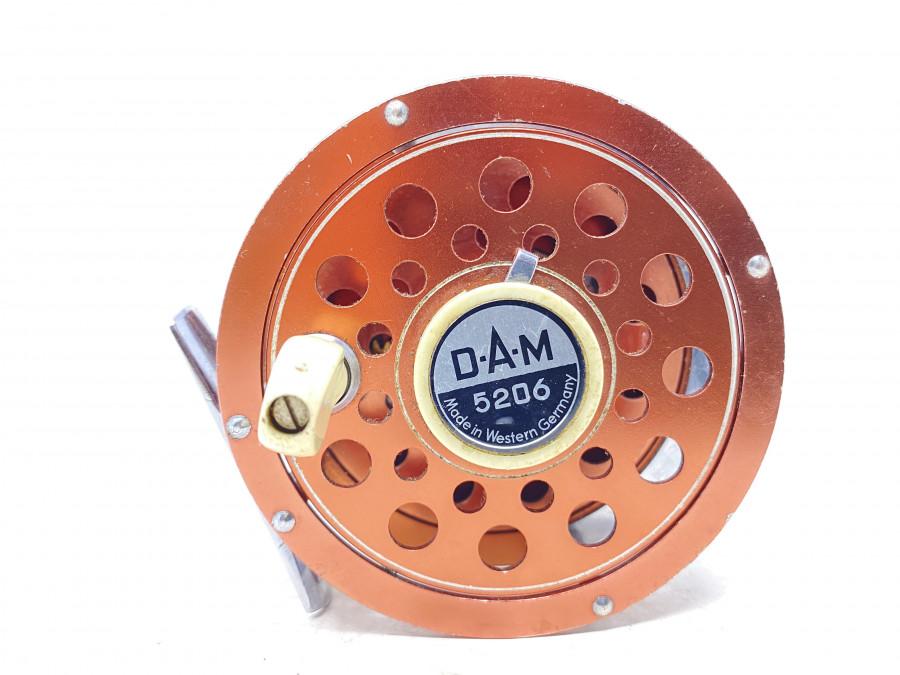 Fliegenrolle, DAM 5206, Made in Western Germany, Backline, Linkshand, ausschaltbare Knarre, gutes Bremssystem, Gebrauchsspuren