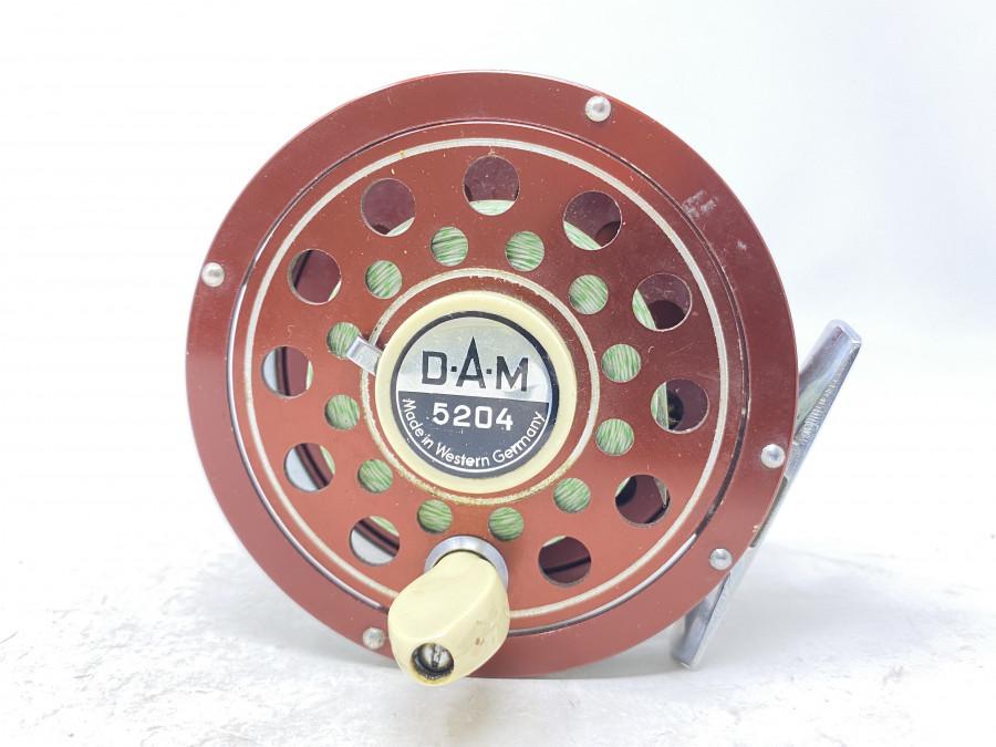 Fliegenrolle, DAM 5204, Made in Western Germany, Linkshand, ausschaltbare Knarre, sehr gute Bremse, Gebrauchsspuren