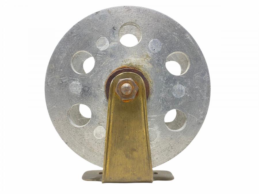 Vintage Angelrolle, Alu/Messing, Rollendurchmesser 120mm, Rollenbreite 35mm, seltene Rolle, Gebrauchsspuren