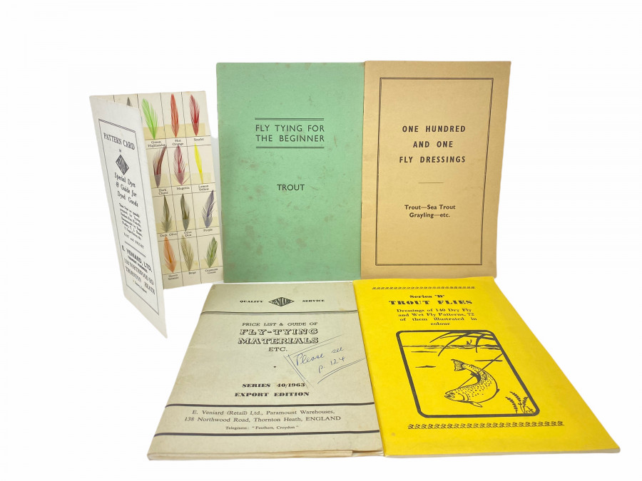 Katalog Veniard, Price List & Guide of Fly-Tying Materials, Etc., Pattern Card of Veniard Special Dyes & Guide for Dyed Goods, On e Hundred and one Fly Dressings, Trout - Sea Trout - Gryling, etc., Series B Trout Flies,  Fly Tying for The Beginner, Trout,  Veniard